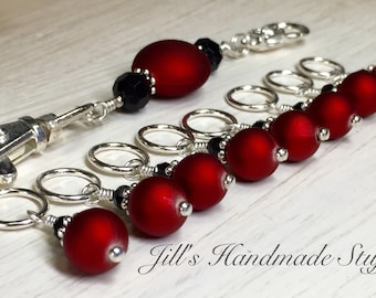 Red Wine Snag Free Stitch Markers & Holder, Gift for Knitters