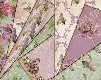 8.5 x 11 inches - Vintage Lilac Paper Pack  -  Instant Download - Printable Collage Sheet  - Scrapbook - Journal - Wedding - photography