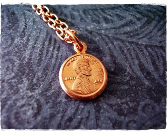 Copper Lincoln Penny Necklace - Red Brass Lincoln Penny Charm on a Copper Plated Cable Chain or Charm Only