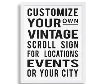 Custom Scroll Sign Art Print Bus Stop Print Trolley Stop Decor Modern Art Industrial Art Hipster Print Customize Personalized Vintage Sign
