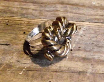 Ring adjustable button vintage knot rope adjustable ring vintage button knotted rope