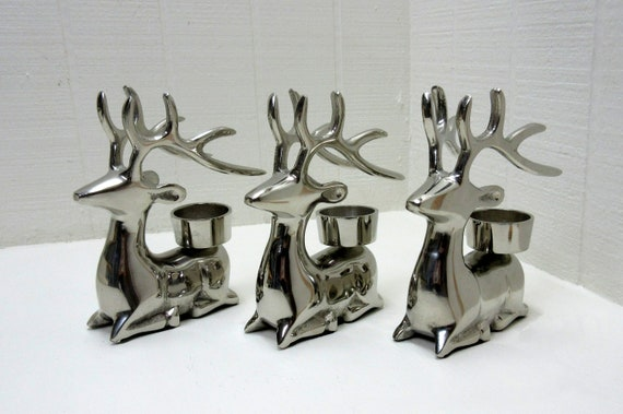 Vintage Deer Silver Tone Metal Votive Candle Holder Reindeer Tealight Candle Holder Set Of 3