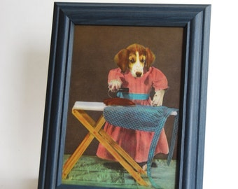 Vintage Framed Illustration from Three Little Puppies
