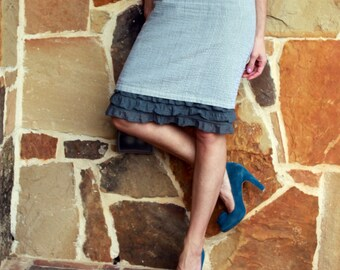 Skirt Slip Extender: Grey Tiered Ruffle