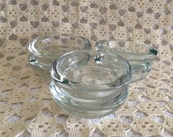 "Glass Ashtrays, Individual Clear Glass Ashtrays, 3"" Wide Clear Glass Ashtrays, Set of 6 Ashtrays,"