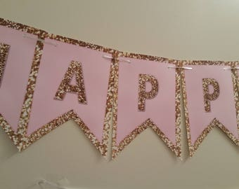 Happy birthday banner in pink and gold | Pink and gold birthday banner