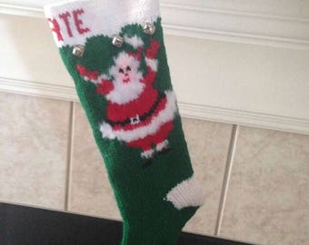 Personalized Handmade Knitted Christmas Stocking *Wool Available* - Dancing Santa with fuzzy beard