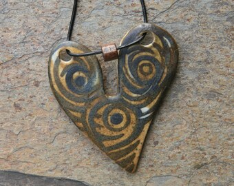 Heart Ceramic one of a kind Necklace...