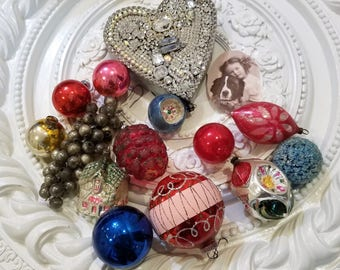 old vintage glass ORNAMENTS lot Christmas bulbs KITCHY #1