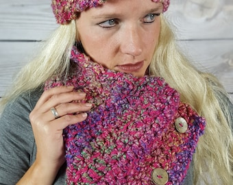Pink Boston Harbor Scarf, Pink Scarf, Circle Scarf, Handmade Cowl Scarf- Pink with Multicolors and 3 buttons