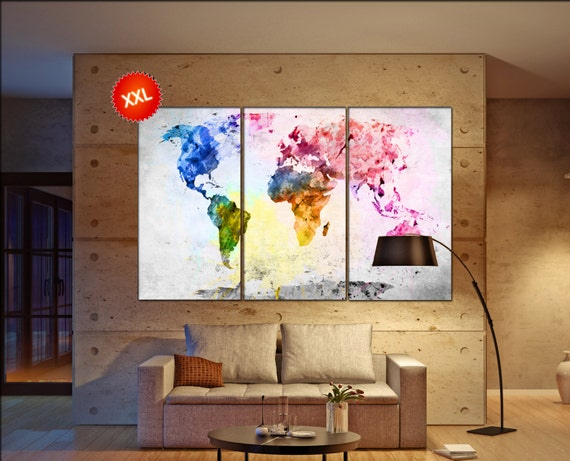 world   print on canvas wall art Large world  artwork large world map  Print home office decoration