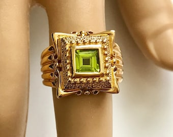 14K Gold over Sterling Silver Genuine Peridot Etruscan Style Ring - Size 7.5