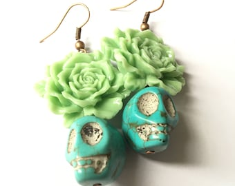 Sugar Skull Earrings, Mint Green Sugar Skull Earrings, Turquoise Earrings, Mint Green, Green Earrings, Day of the Dead, Frida kahlo Inspired