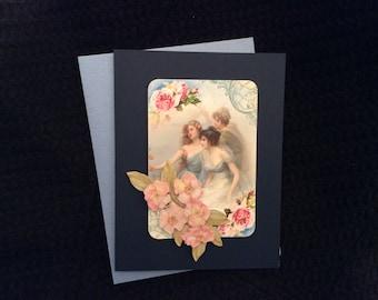 Beautiful Victorian Ladies Card handmade