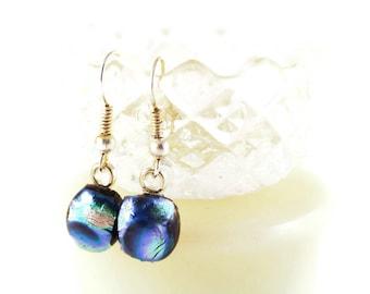 Dichroic Glass Earrings, Dangle Earrings, Fused Glass Earrings, Blue and Sliver Glass Earrings, Fashion Earrings, Jewelry