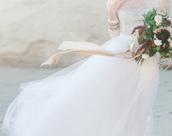 Long tulle skirt for brides for beach weddings, alternative wedding, garden weddings, and engagement shoots - OFF WHITE