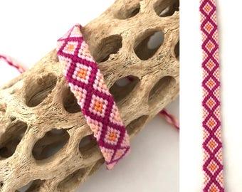 Friendship bracelet - diamond pattern - knotted - macrame - woven - pink - string - embroidery floss - thread - narrow - handmade