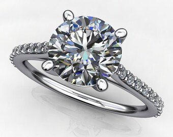 evangeline ring – 1.5 carat round diamond cut NEO moissanite engagement ring, cathedral setting