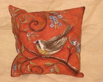 Shabby Chic Fun Throw Pillow with Bird Motif French Market Design Floral Handmade Pillow Vintage Orange