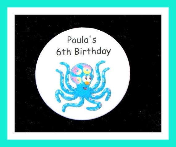 Birthday Party Favors, Personalized Button,Octopus Pin Favor,School Favors,Kids Party Favor,Boy Birthday,Girl Birthday,Pins, Set of 10