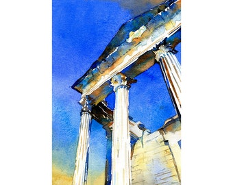 Watercolor painting of Roman temple at the ruins of Dougga in Tunisia- Africa.   Roman ruins Tunisia watercolor painting fine art print.
