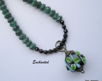 Green Aventurine Necklace, Emerald Green Necklace