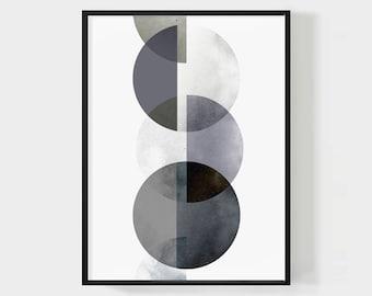 MOON PHASES WALL Art, Modern Art Abstract, Phases of the Moon Printable, Circles Art Print, Geometric Art, Moon Poster, Digital Download Art