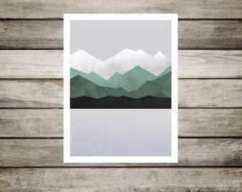 Mountain,Lake,Watercolor,Nursery art,Modern,Abstract,Green.Gray,Mountain decor,Scandinvian,Wall art,12x16,inches,rustic, cabin,lake,gift,boy