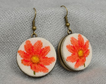 Beauty gift Tangerine flower earrings Cross stitch jewelry Embroidered earrings Gift|for|her Hand embroiderey Floral earrings Orange jewelry