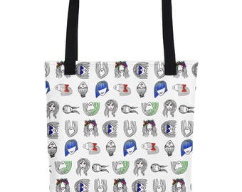 Girls Tote Bag-Girl With a Crown