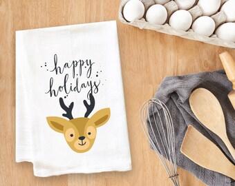 Happy Holidays Reindeer Tea Towel Flour Sack Towel Kitchen Towel