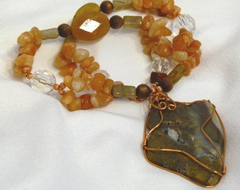Peach Aventurine, Yellow Opal, and Quartz, with Copper-Wire Wrapped Agate Pendant - NS36
