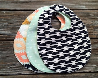 Bibs ~ You Choose 1 or All Three (3)! ~ Serape//Southwestern//Geo//Tribal//Desert//Arizona//Native//Aztec