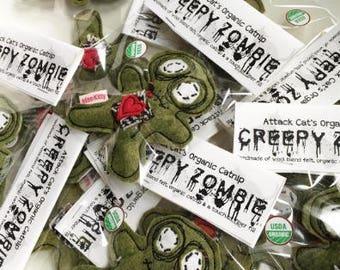 My Lil Zombie   Zombie Cat Toy   Organic Catnip   Halloween   Catnip Toy   Felt Cat Toy   Halloween Gift   Creepy Cat Toy