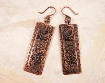 Copper postal earrings Layered copper earrings
