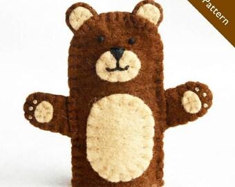Pattern, bear finger puppet pattern, bear, felt finger puppet, brown bear finger puppet, PDF download, brown bear finger puppet, puppet