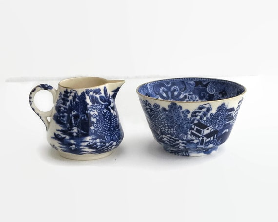 Antique Spode Copeland sugar bowl and creamer, blue and white Chinese pattern, Mandarin, number 1327, 1875-1890, Victorian, collectable