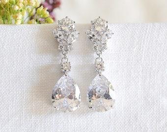 Crystal Bridal Earrings, Wedding Earrings, Teardrop Dangle Earrings, Modern Vintage Style Flower Earrings, Bridal Jewelry, Rose Gold, PERRIE
