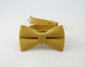 Mustard Yellow bow tie,Vintage, Linen bowtie for boys, yellow bow tie, adjustable pretied kids bowtie, metal hook adjustable bowtie