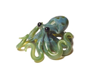 Small Glass Octopus pendant Silver Mossy Green