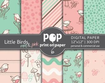 Bird digital paper LITTLE BIRDS Mint Pink digital paper, personal & commercial use, girl birthday invitation, forest digital paper