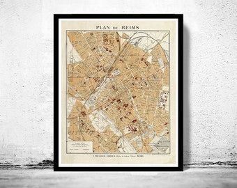 Old Map of Reims France 1926