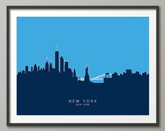 New York Skyline, NYC Cityscape Art Print (813)