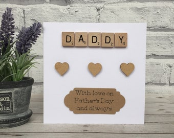Daddy Fathers Day Card, Scrabble Fathers Day Card, Scrabble Fathers Day Card For Daddy
