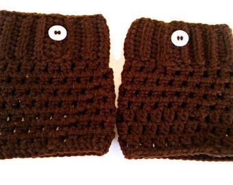 Boot Cuffs - Brown Boot Cuffs - Clearance - Crochet Boot Cuffs - Size Medium Boot Cuffs