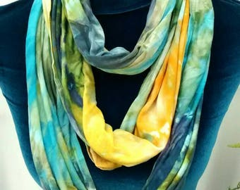 Blue Green and Golden Yellow Long Rayon Jersey Infinity Scarf