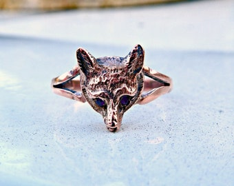 Antique Victorian 9ct 9k Rose Gold Fox Stickpin Conversion Ring with Ruby Eyes, Unisex Vintage Animal Ring