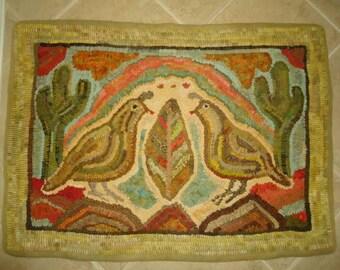 Four Amigos (quail and desert saguaro cactus) rug hooking pattern on primitive linen