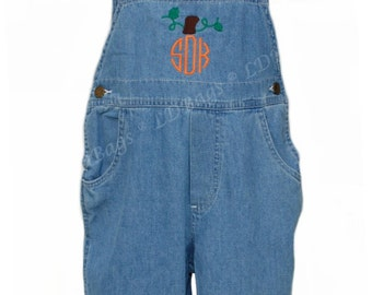 Toddler Shorts Overalls | Pumpkin Monogram | Boys Overalls | Personalized Overalls | Embroidered Overalls | Toddler Denim Overalls | Size 4T
