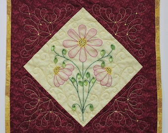 """Floral art wall quilt with colored hand embroidery and decorative beading  - 14"""" square finished wall hanging ready for display"""